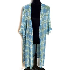 Kimono Blue Plaid NWOT